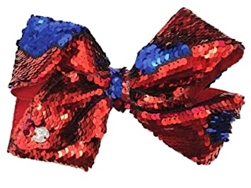 cac19129a1dae Amazon.com   JoJo Siwa Large Cheer Hair Bow (Red Blue Reversible Sequins)    Beauty