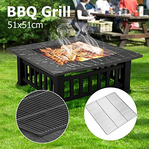 Compact Patio Heater (Topeakmart Garden Metal Fire Pit Brazier Square Table Patio Heater Stove , 20.1x20.1'')