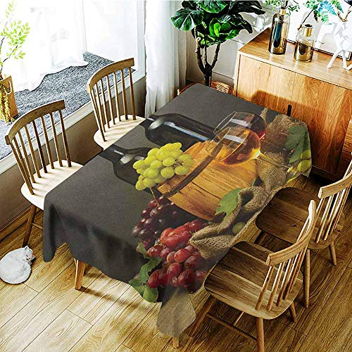- XXANS Fashions Rectangular Table Cloth,Winery,Barrel Bottles and Glasses of Wine and Ripe Grapes on Wooden Table Picture Print,Party Decorations Table Cover Cloth,W60x120L Multicolor