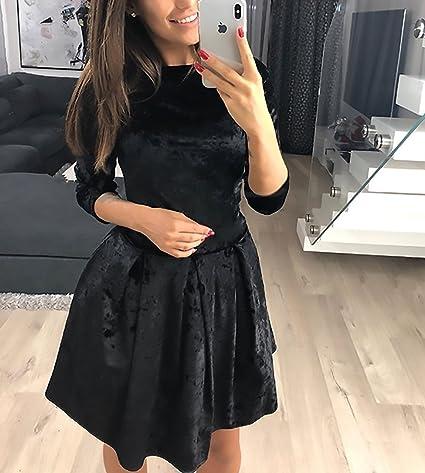 Damska sukienka świąteczna elegancka vintage aksamit 3/4 rękawy okrągły dekolt Cute Chic High Waist A linia sukienka moda sukienka wieczorowa krÓtka sukienka balowa sukienka koktajlowa: Odzie&