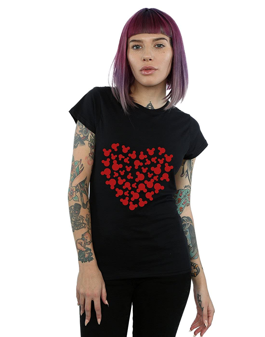 Disney Mujer Mickey Mouse Heart Silhouette Camiseta