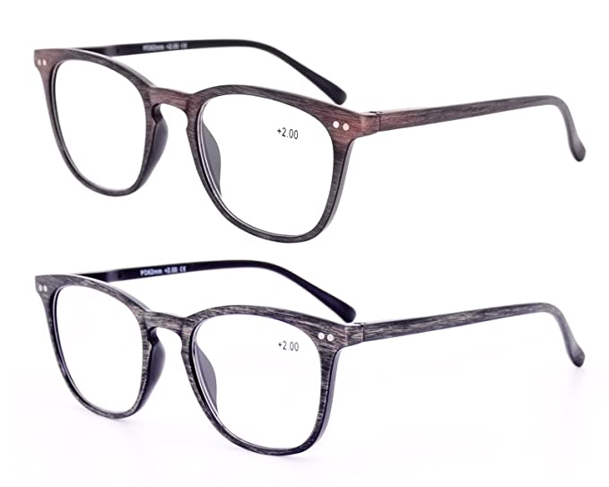 67a4cb5cd5d Amazon.com  2 Pack Amillet Wood-like Grain Reading Glasses