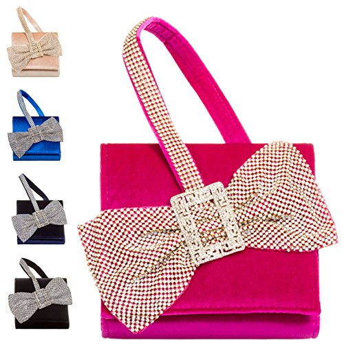 Diamante Handbag Bag Ladies Bow Velvet Clutch Women's Black KW222 Designer Bow Evening Purse rxqzIwqY