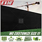 ColourTree 8' x 50' Black Fence Privacy Screen Windscreen Cover Fabric Shade Tarp Plant Greenhouse Netting Mesh Cloth - Commercial Grade 170 GSM - Heavy Duty - 3 Years Warranty - WE Make Custom Size