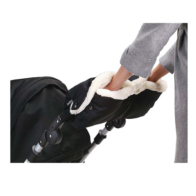 IntiPal Fleece Stroller Hand Muff Anti-freeze Waterproof Gloves Warmer Winter Gift (Black)