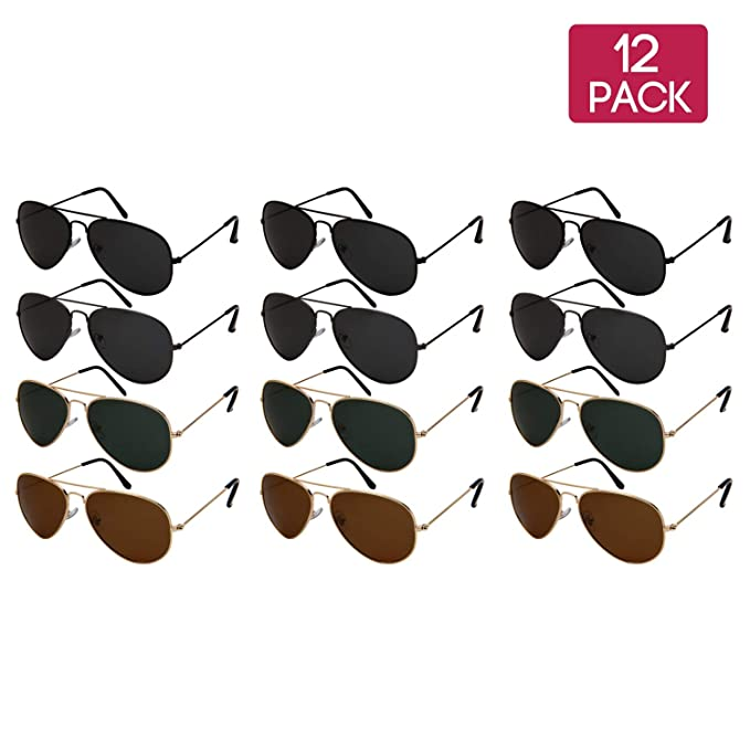 7f8a85663d2 Amazon.com  12 Pack Classic Bulk Wholesale Polarized Metal Aviator  Sunglasses for Men Women UV400 N25095A-P  Clothing