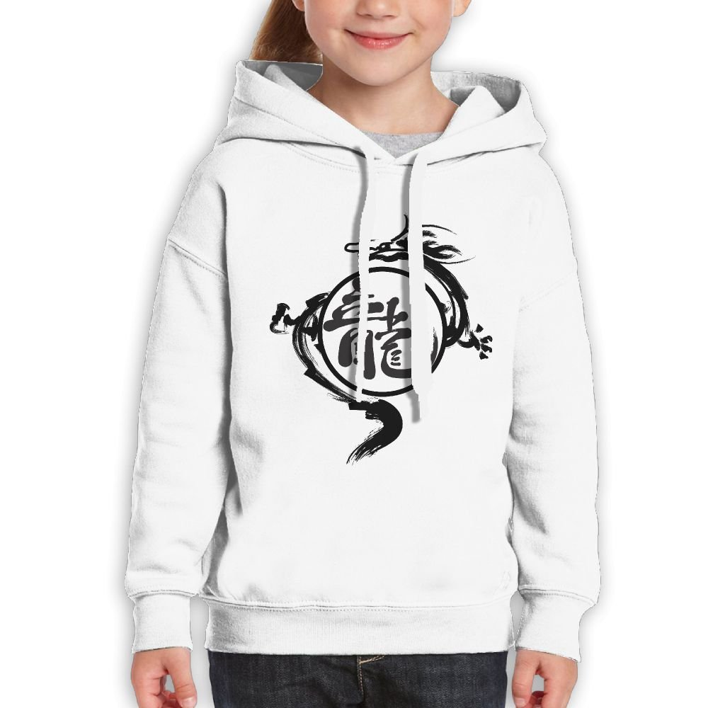 SmallHan Youth Dragon Silhouette Casual Style Baseball White Hoody