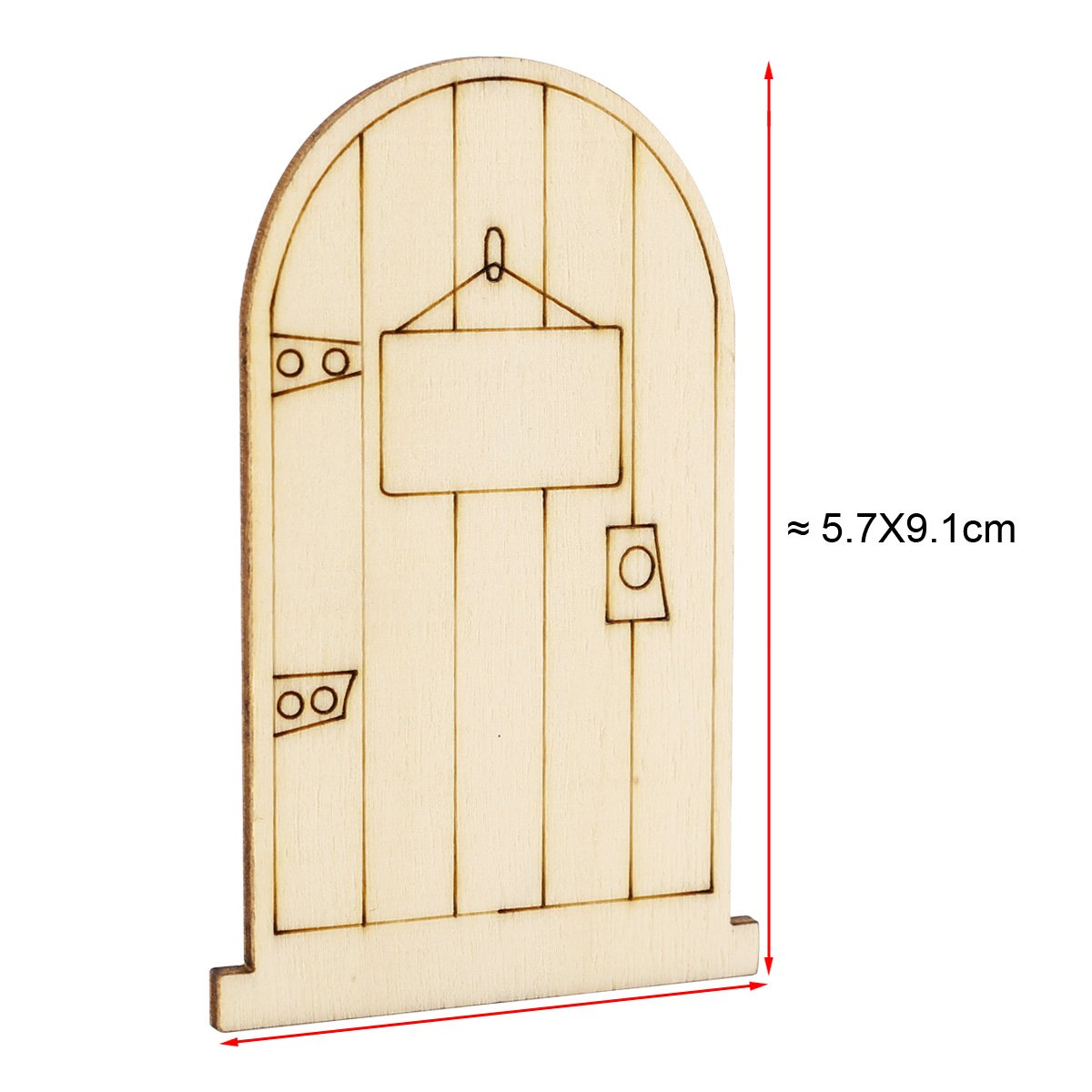 NEW 25Pcs Laser Cut Wooden Fairy Doors Unpainted with Plaque DIY Craft