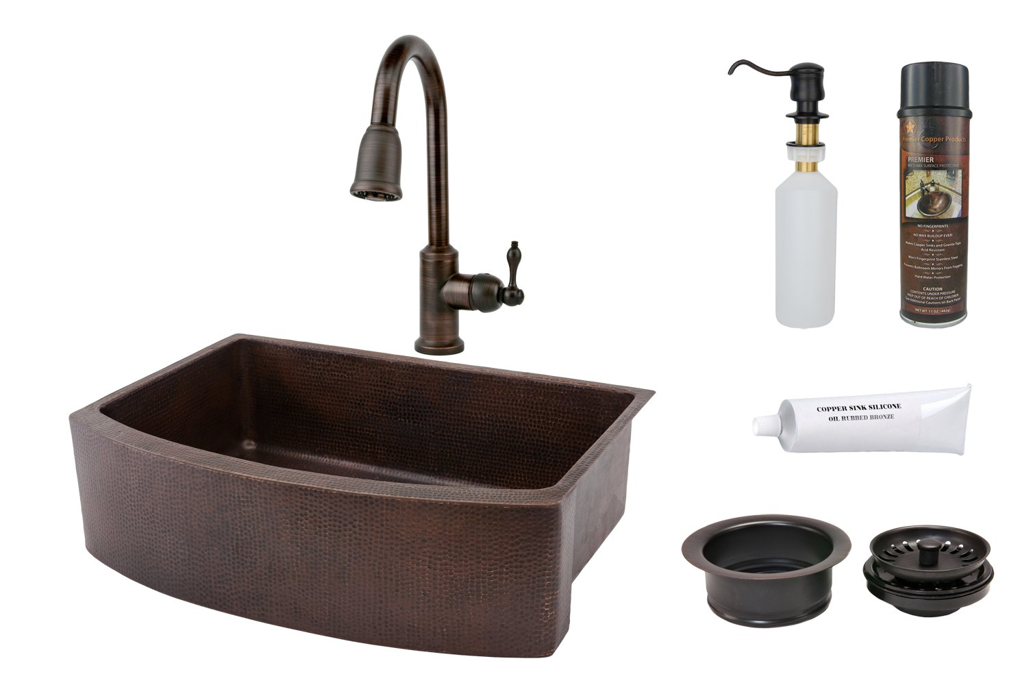 Premier Copper Products KSP2_KASRDB33249 33-Inch Hammered Copper Kitchen Rounded Apron Single Basin Sink with Pull Down Faucet, Oil Rubbed Bronze