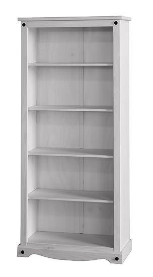 Corona White Pine Tall Bookcase Whitewash Furniture