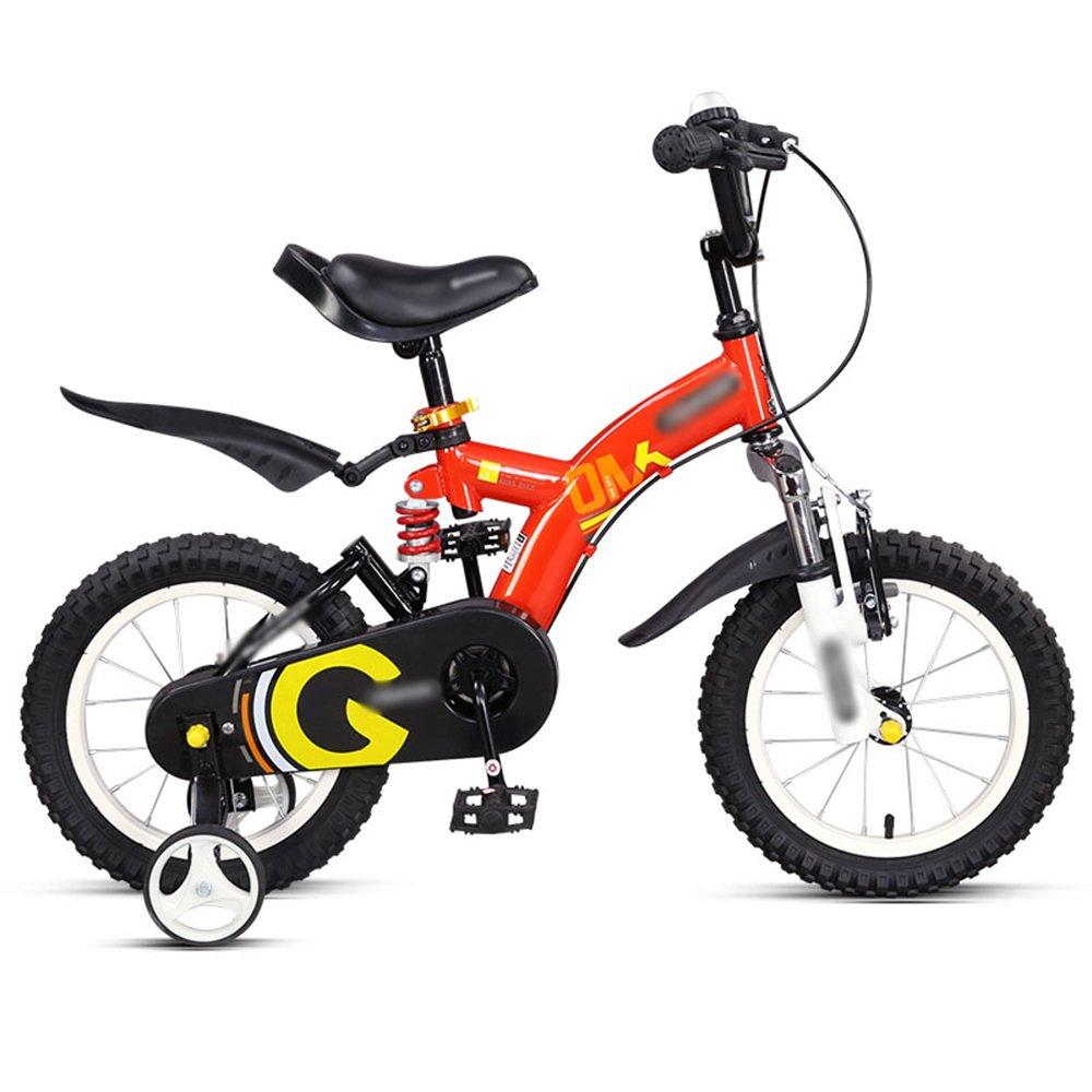 HAIZHEN マウンテンバイク 子供用自転車14インチ16インチレッドイエローオレンジ安全で安定した衝撃吸収自転車 新生児 B07CCK9TFR 16 inches|赤 赤 16 inches