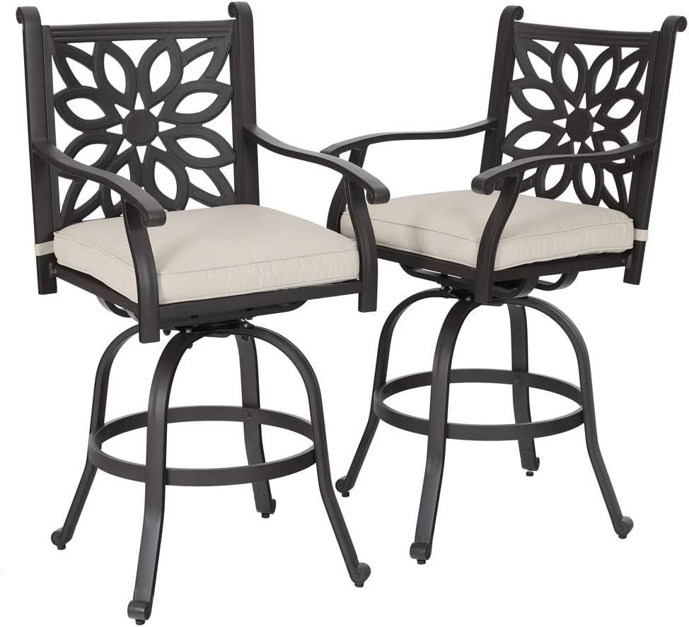 PHI VILLA Cast Aluminum Extra Wide Patio Height Swivel Bar Stools Armrest Chairs Set of 2 – Design for DIY