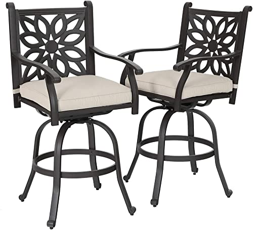 PHI VILLA Extra Wide Outdoor Patio Pub Height Swivel Bar Stools Cast Aluminum Arms Chairs