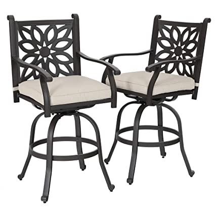 Amazing Phi Villa Cast Aluminum Extra Wide Patio Height Swivel Bar Stools Armrest Chairs Set Of 2 Design For Diy Andrewgaddart Wooden Chair Designs For Living Room Andrewgaddartcom