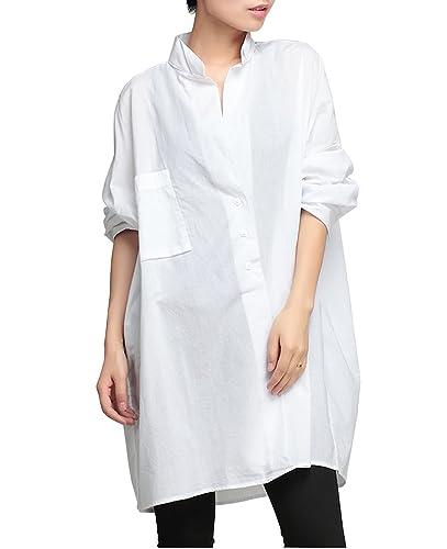 ELLAZHU Mujeres sólido camisa de manga larga de algodón remata la blusa WO50 WO50 blanca