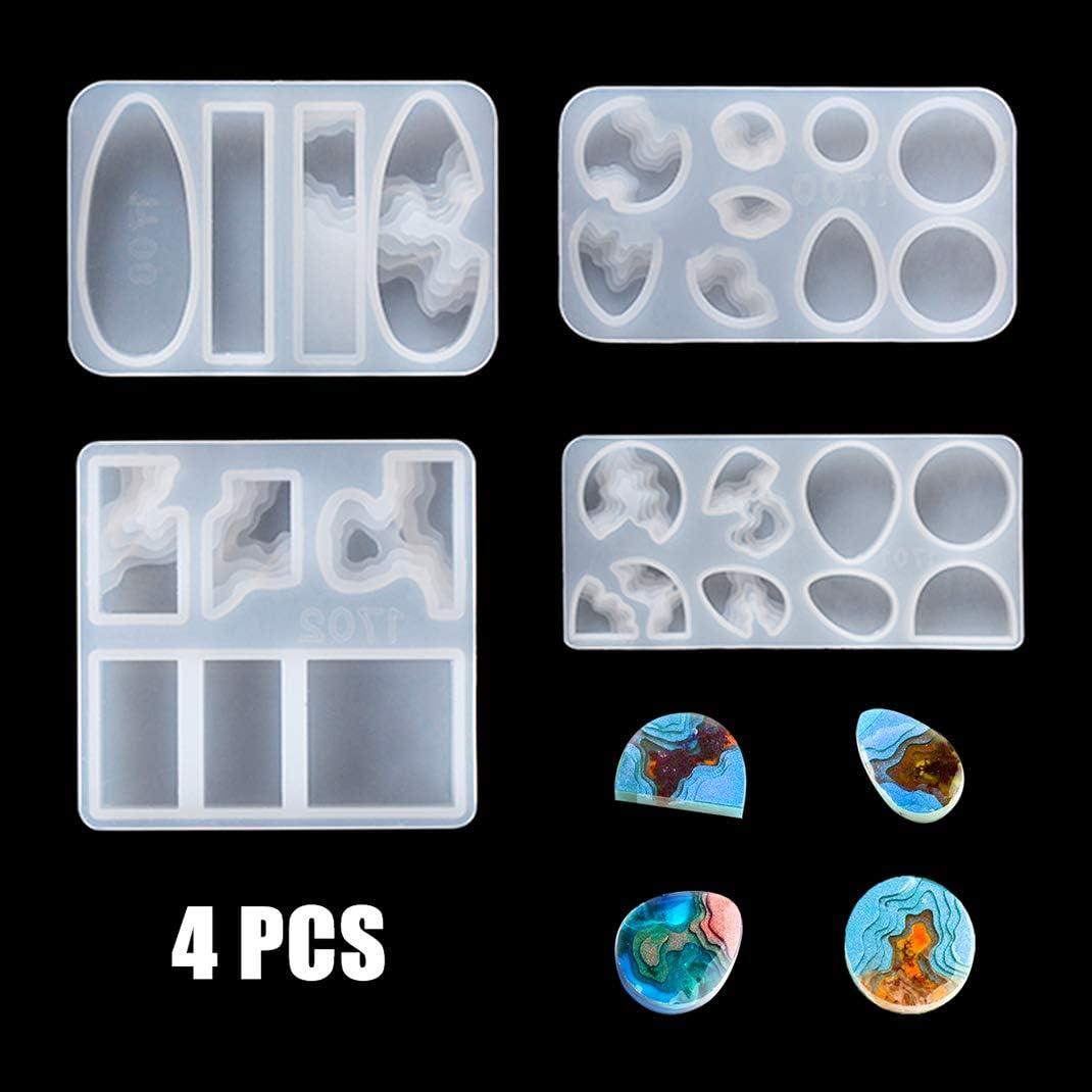iSuperb 4 pcs Moldes Resina Epoxi Silicona Moldes de Joyería Creativo Resin Mold para DIY Isla Pendiente Collar Manualidades (4 Moldes)