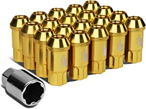 J2 Engineering 7075 Replacement forged Aluminum M12X1.5 20Pcs 50mm Long Open End Lug Nut Set w/Turner (Gold)