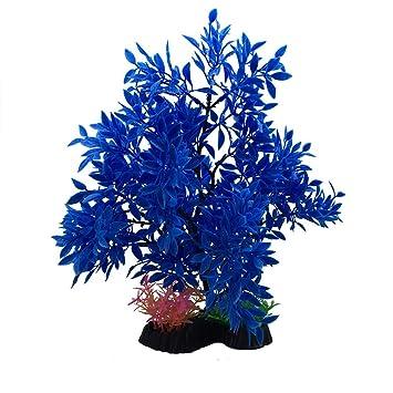 Xiton Plantas Artificiales Acuario Aquascaping Tanque decoración Plantas plásticas pecera decoración Vivid simulación Planta Criatura Acuario Paisaje-Azul: ...
