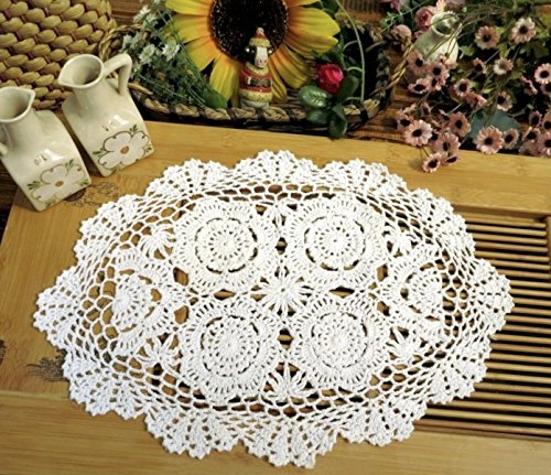 (Phantomon Crochet Cotton Lace Placemats Doilies Crochet Doilies Coasters, Pack Of 4, Oval Shape, White, 12 x 17 inch, Sofa Cover Coasters, Cotton Placemats Table Cover(white))