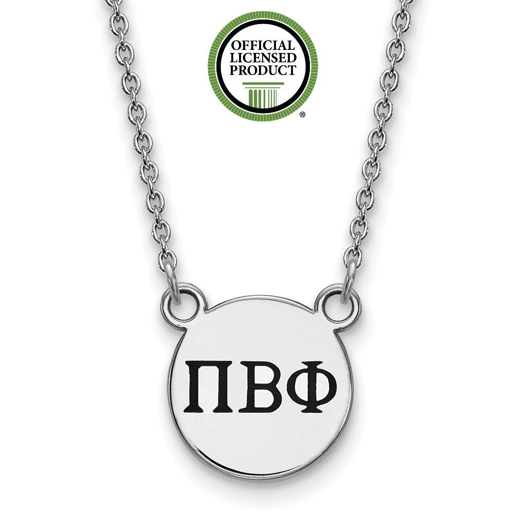 925 Sterling Silver Rhodium-plated Sorority Extra Small Enameled Pi Beta Phi Pendant Necklace w//18 Chain