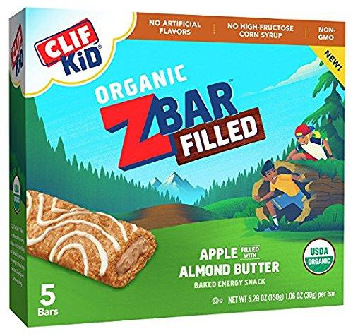 Clif Kid ZBar Organic Filled, Apple Almond Butter, 5 Little Bars (Pack of 2) (Apple Bar Organic)
