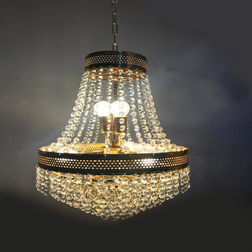 Buy sanleen enterprises home decorative crystal chandelier lightning fixture ceiling light 300mm 12x20 inch online at low prices in india amazon in