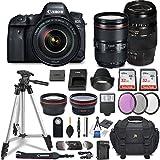 Canon EOS 6D Mark II DSLR Camera w/ 4 Lens Bundle Including EF 24-105mm f/4L is II USM + 2.2X Telephoto & 0.43x Aux Wide Angle Lens + 2Pcs 32GB SD + Accessories Premium Commander Kit (29 Items)