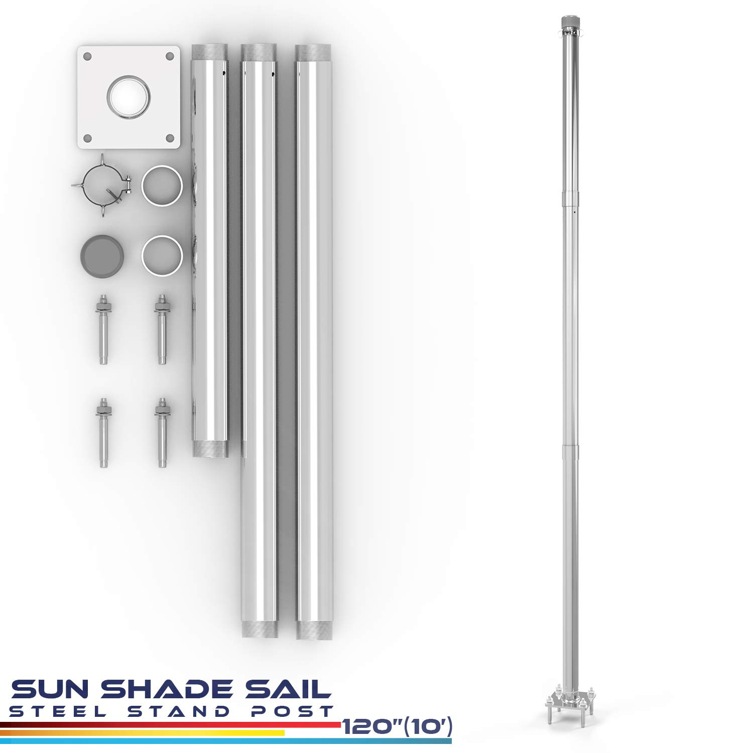 Windscreen4less Sun Shade Sail Pole Kit, Replacement Stand Support Post -10' Feet Tall (120'') for Canopy Awning Fence Patio Deck Garden Concrete Extension Pole Available φ 3''-Steel by Windscreen4less