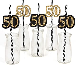 product image for Adult 50th Birthday - Gold - Paper Straw Decor - Birthday Party Striped Decorative Straws - Set of 24
