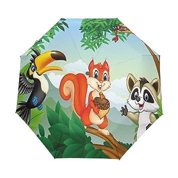 Paraguas automático de animales de ardilla con escena del bosque de dibujos animados, resistente al