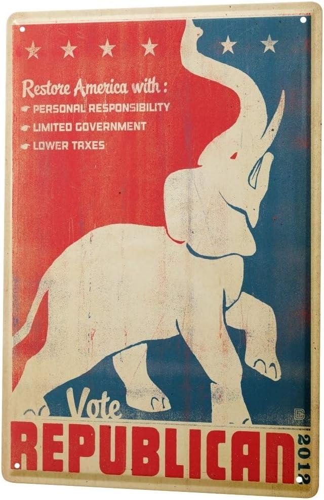 LEotiE SINCE 2004 Nostalgic Tin Sign Metal Plate Decorative Sign Home Decor Plaques Election Poster 2012 Republican Elephant 8X12