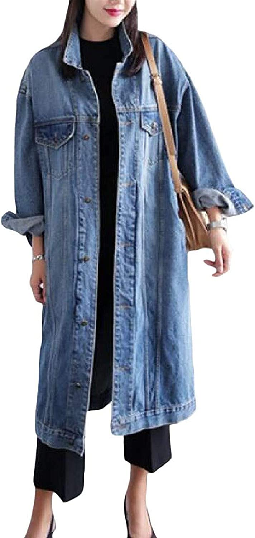 Hotmiss Mens Denim Jacket Trucker Button Down Jean Coat Blue 2XL