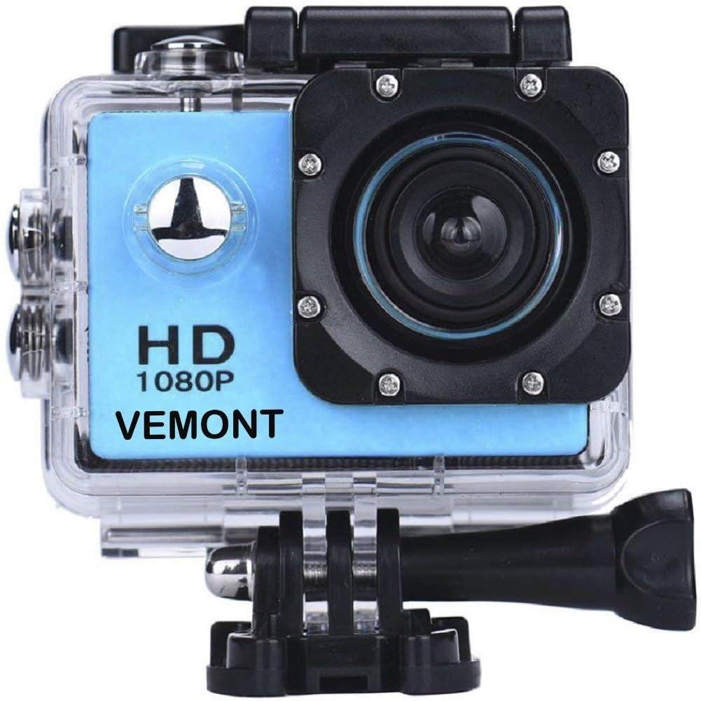 VEMONT Cámara Deportiva 1080P HD Impermeable 30M Pantalla de 2.0 Lente de Gran Angular de 120 Grados Multiples Accesorios para Deportes y Actividades, Buceo, Nadar, Correr, Ciclismo, etc. (Azul)