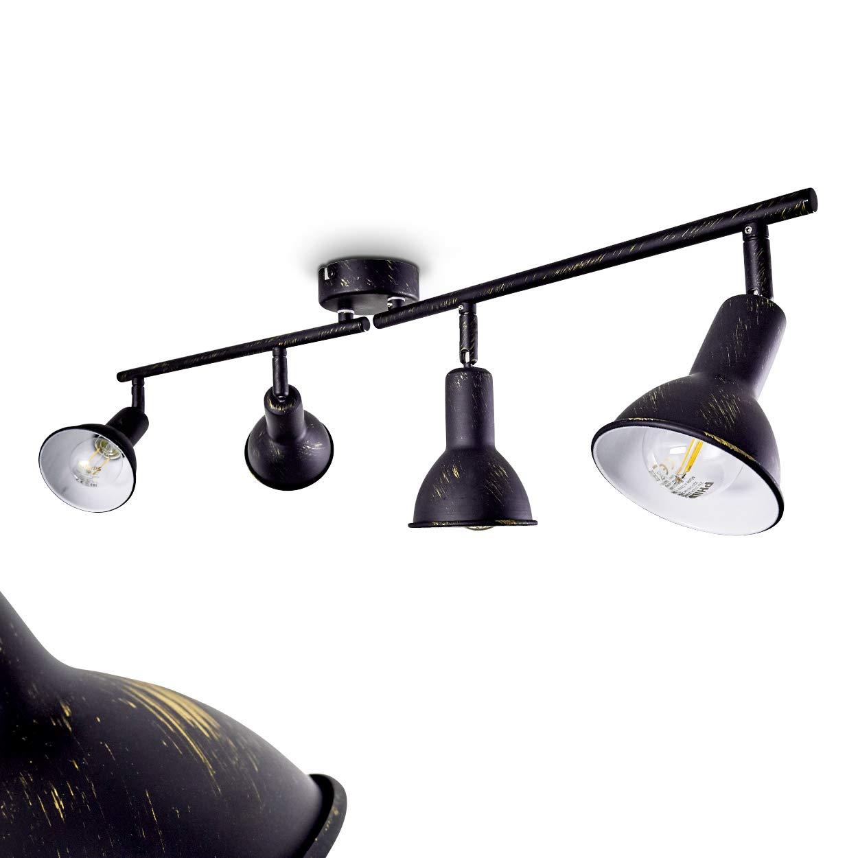 Polmak Deckenlampe mit 4 Lampenschirmen – moderner Deckenspot mit E14-Fassungen a 40 Watt - Deckenstrahler aus Metall in Schwarz mit Goldelementen und verstellbaren Spots – Zimmerlampe für Wohnzimmer
