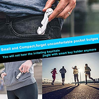 Smart Compact Key Organizer - Keychain & Stainless Steel- Pocket Key Holder Up to 22 Keys- Loop Piece for Car FOB, Includes Sim & Bottle Opener, Phone Stand, Carabiner & More (Silver): Office Products