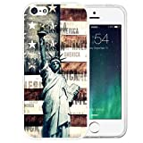 iPhone SE Case, LAACO Beautiful Clear TPU Case Rubber Silicone Skin Cover for iPhone 5/5S/SE - Statue of Liberty pattern