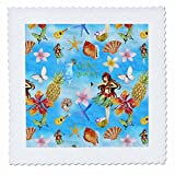 3dRose Uta Naumann Pattern - Aloha Flower Hawaii Hula girl Tropical Blue Beach Pattern - 22x22 inch quilt square (qs_266860_9)