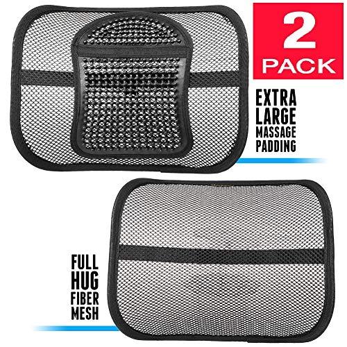 ErgoMaax Bundle - TWO (2) PACK Fiber Mesh Lumbar Support Cushions (Upgraded Version) - Ergonomic Extra Large Massage Padding Cushion + Full Hug Mesh Cushion Any Car Seat Office Chair by ErgoMaax