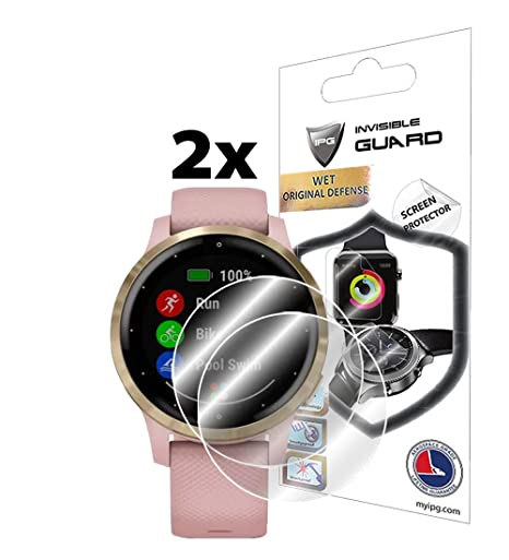 IPG for Garmin vívoactive 4S Smartwatch Screen Protector (2 Units) Invisible Ultra HD Clear Film Anti Scratch Skin Guard - Smooth/Self-Healing/Bubble ...