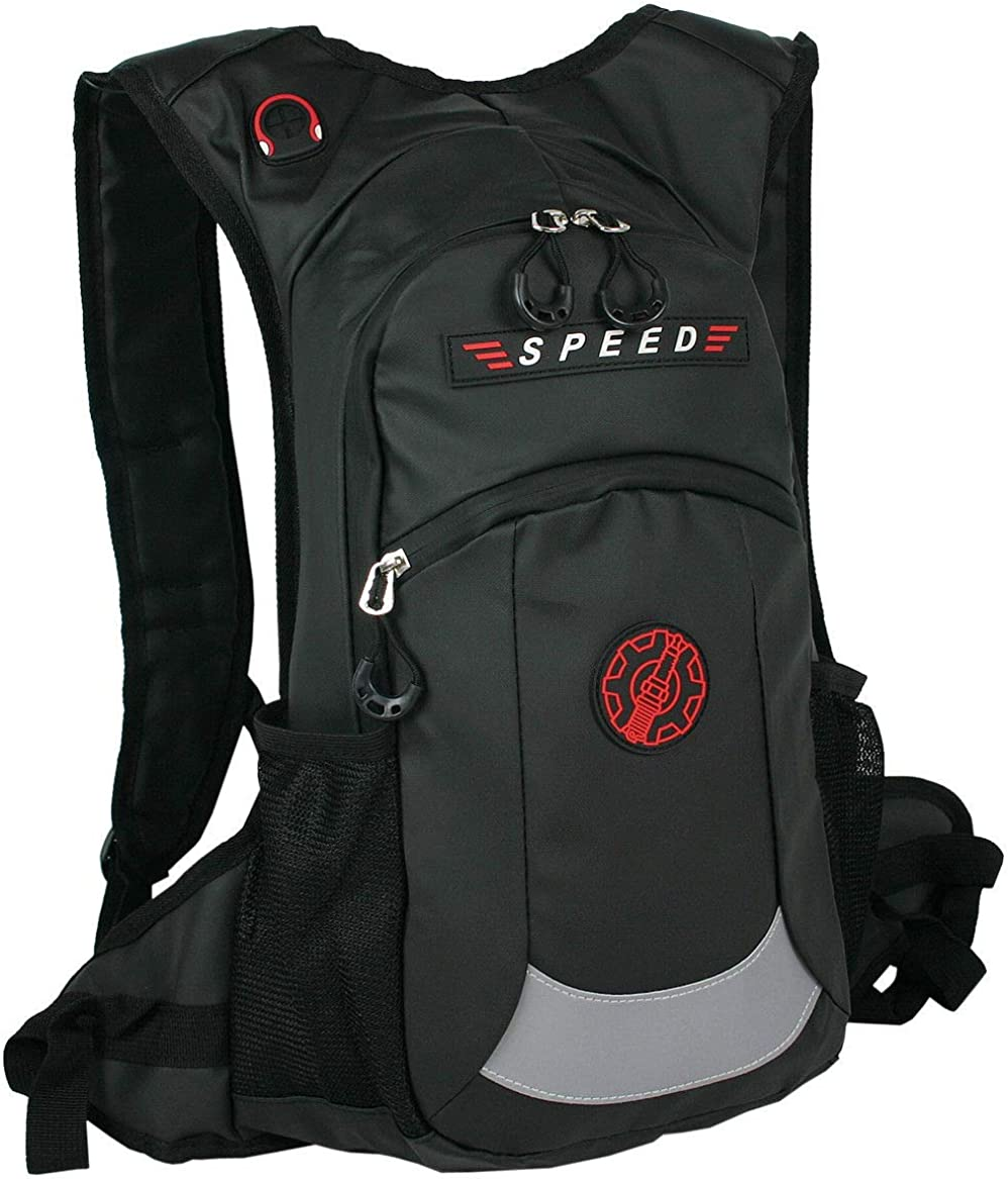 ag Street - Mochila impermeable Casual Unisex Negro mediano | Para moto, deporte y aire libre.