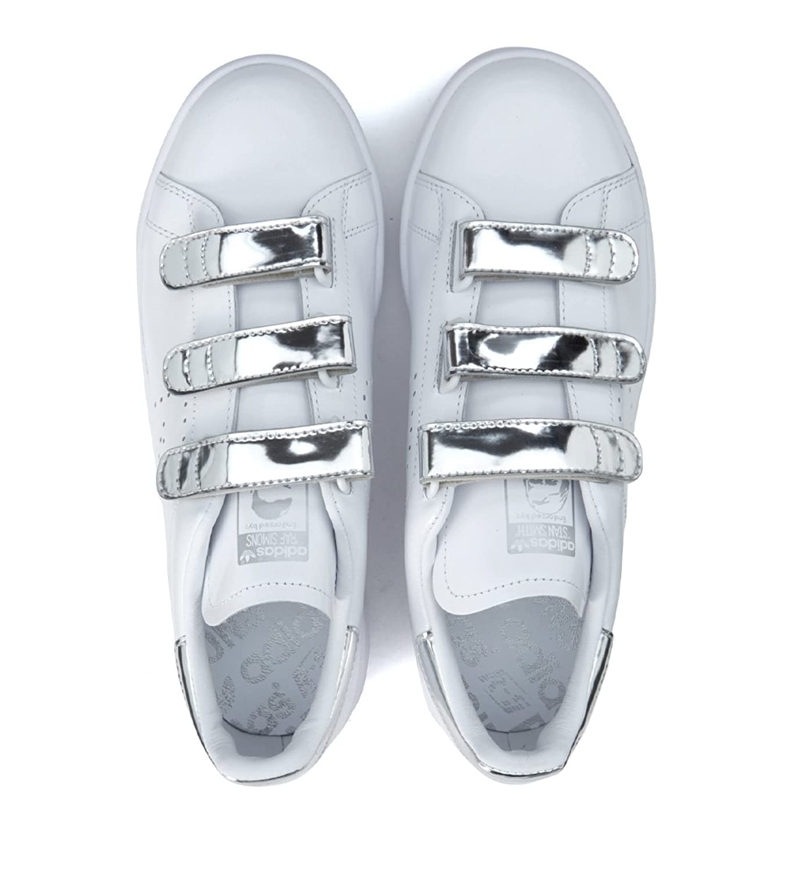 timeless design f8559 1f549 Amazon.com   Adidas x Raf Simons Men s Sneaker Stan Smith Comfort In Pelle  Bianca Argento 9, 5(US)-9 1 2(US) White   Fashion Sneakers