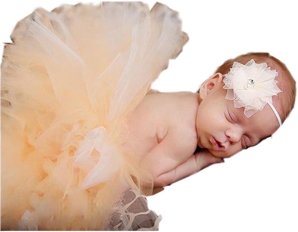 Ikerenwedding 0-24 Month Baby Photography Prop Infant Lovely Costume Tutu Dress Headband Set