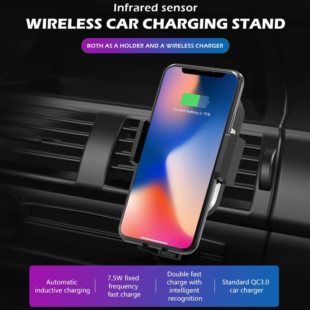 Grost Koning Qi Wireless Car Charger Mount 10W Fast Charging, Auto-Clamping Car Mount, Dashboard Air Vent Phone Holder, IR Intelligent Sensing Wireless Car Charger Compatible with iPhone, Samsung by Grost Koning