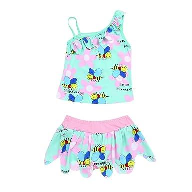 Amazon.com: Lanhui niños traje de baño floral impresión ...