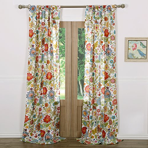 Red Floral Curtains - Greenland Home Astoria Window Panel Pair