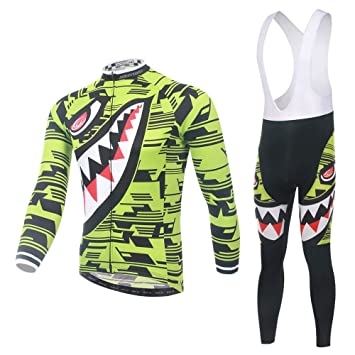 Pinjeer Spring Autumn Men s Green Shark Printing Cycling Jersey Clothing  Suits with Bibs Outdoor Sportswear Bike 7323bbd45
