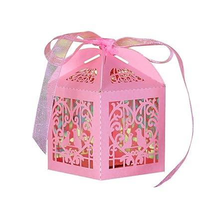 TININNA 50 piezas Cajas de boda con cinta rosa jaula, Fiesta Baby Shower Favor cajas
