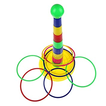 LUQUAN Children Rings Toys Colorful Hoopla Ring Toss Cast Circle Sets Educational Toy Puzzle Game Kids