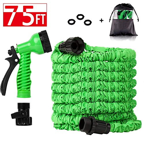 (Zeekoo Expandable Garden Hose with All Connectors 8 Pattern Spray and High Pressure with Triple Layer Latex Core & Latest Improved Extra Strength Fabric Protection for All Your Watering Needs (75FT))