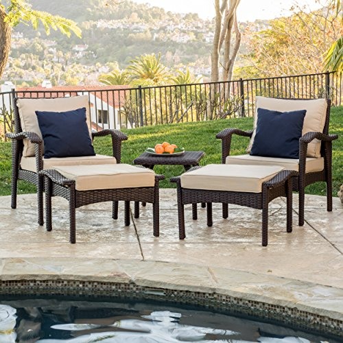 Maui Outdoor 5-piece Brown Wicker Seating Set with - Ottoman Patio Wicker